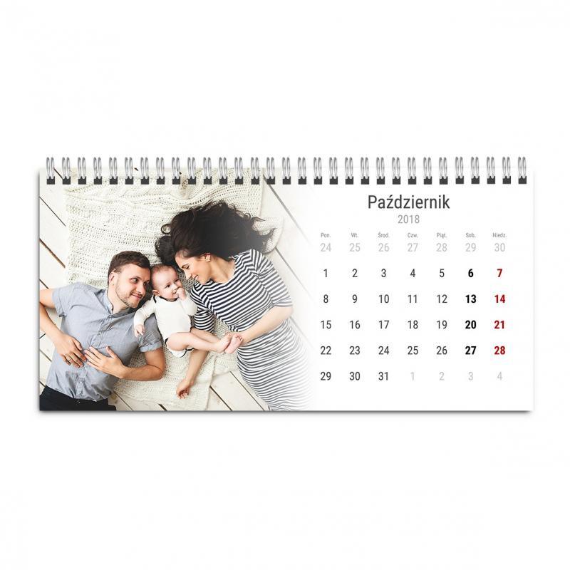 Kalendarz biurkowy poziomy stojący z Własnymi Zdjęciami. Zaznacz ważne dla Ciebie daty.