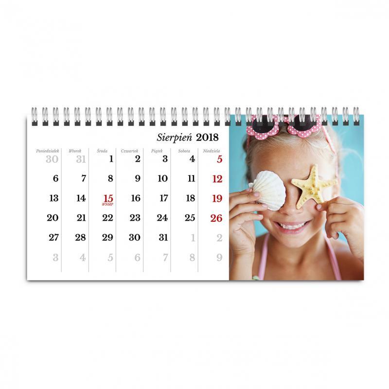 Fotokalendarz biurkowy poziomy stojący - gotowy szablon online - Klasyczny Biały