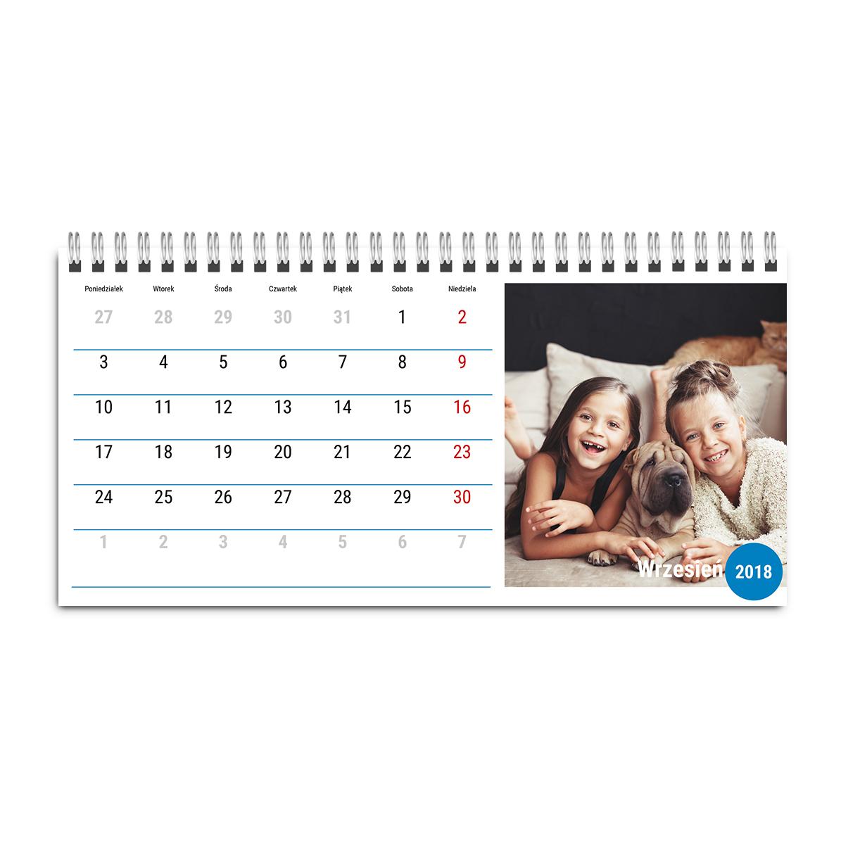 Fotokalendarz biurkowy stojący poziomy