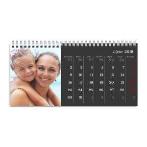 Fotokalendarz biurkowy stojący poziomy szablon Klasyczny Czarny - z Zdjęciami Rodzinnymi