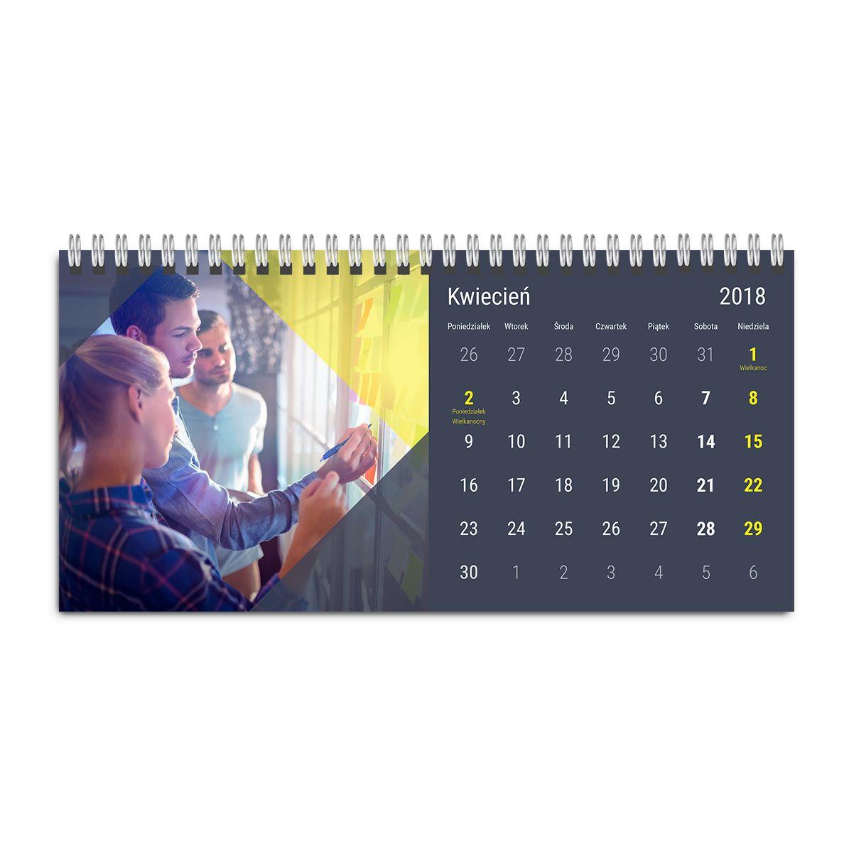kalendarz biurkowy ze zdjęciem szablon nowoczesna firma