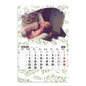 kalendarz jednodzielny szablon zielono mi