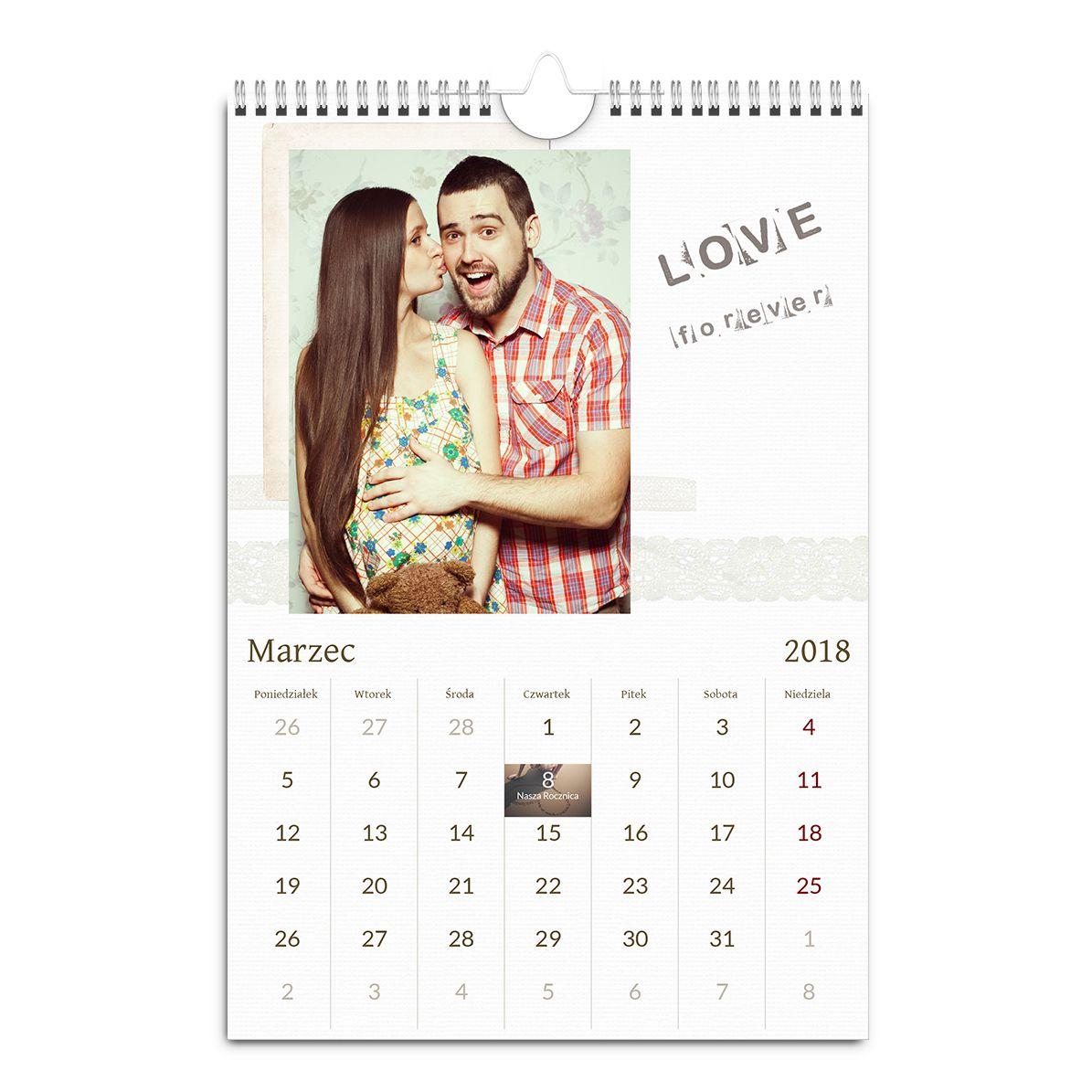 kalendarz ścienny szablon retro