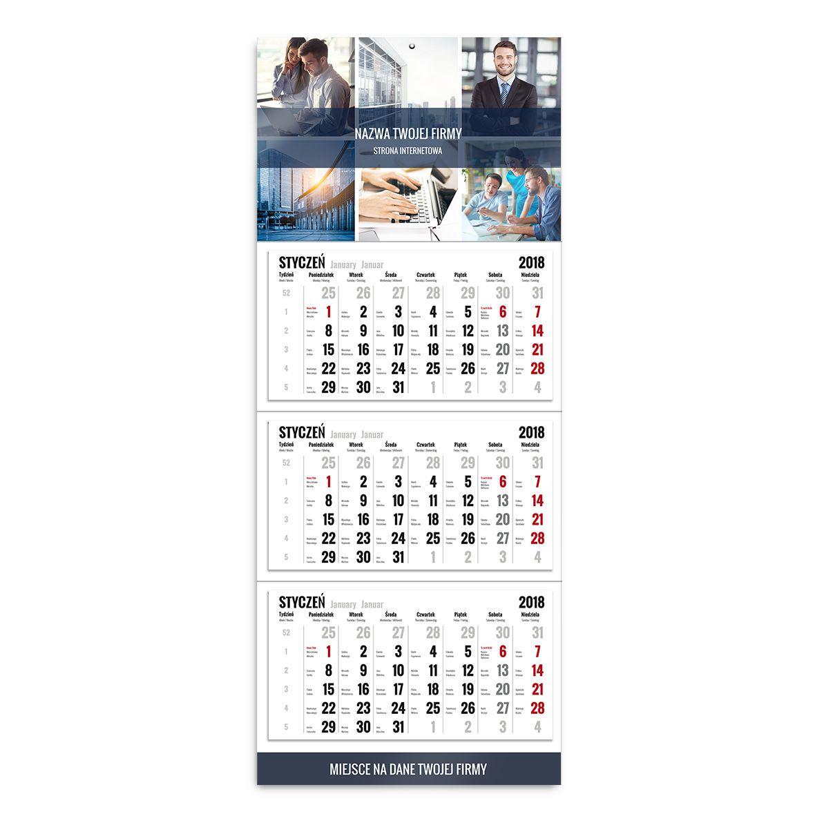 kalendarz trójdzielny szablon biznesowy