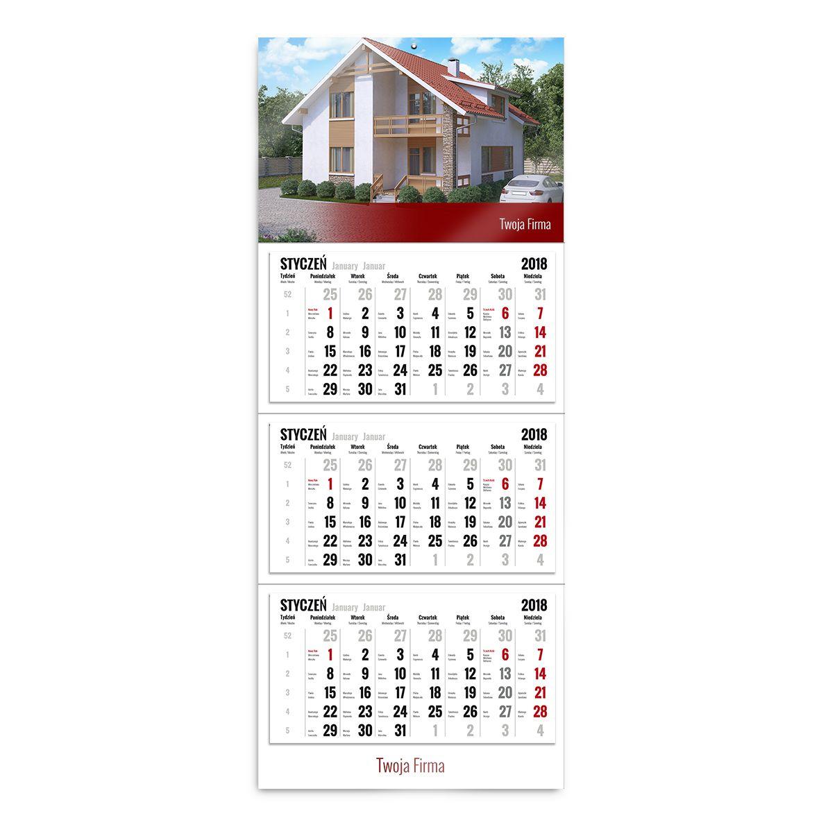 kalendarz trójdzielny szablon dla przedsiębiorców