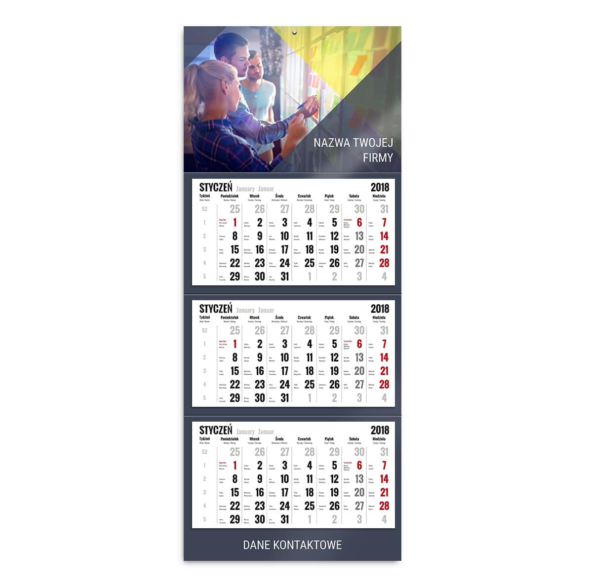 kalendarz trójdzielny szablon nowoczesna firma