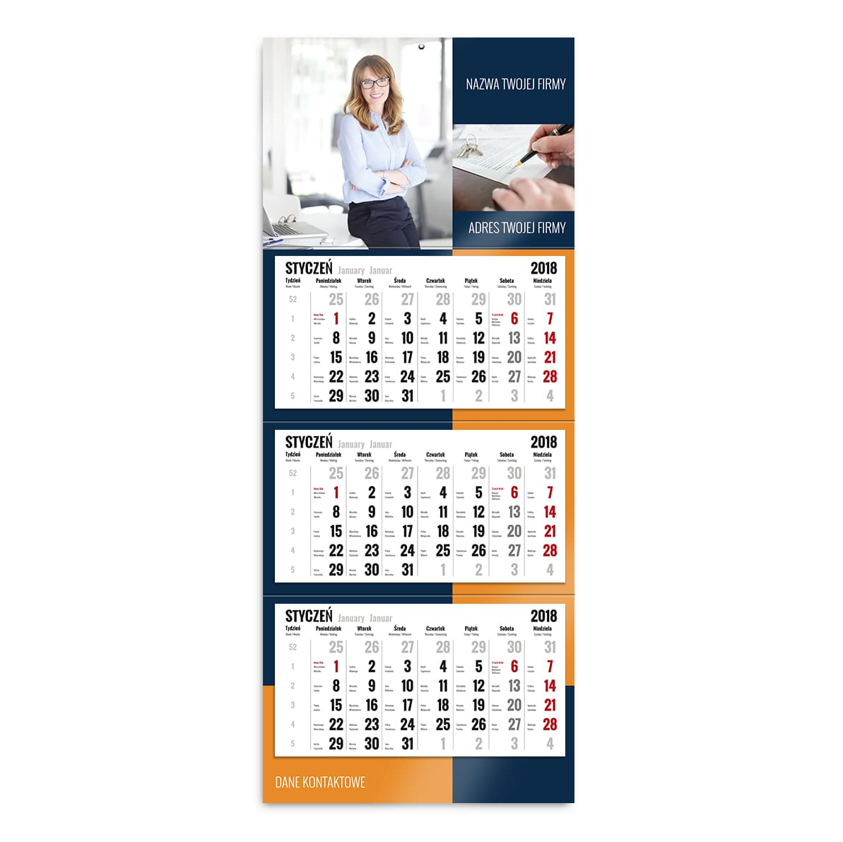 kalendarz trójdzielny szablon twoja firma