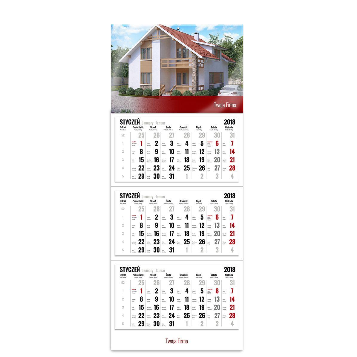 kalendarz trójdzielny z główką szablon dla przedsiębiorców