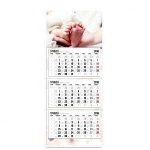 kalendarz trójdzielny z główką szablon kwiatuszkowy