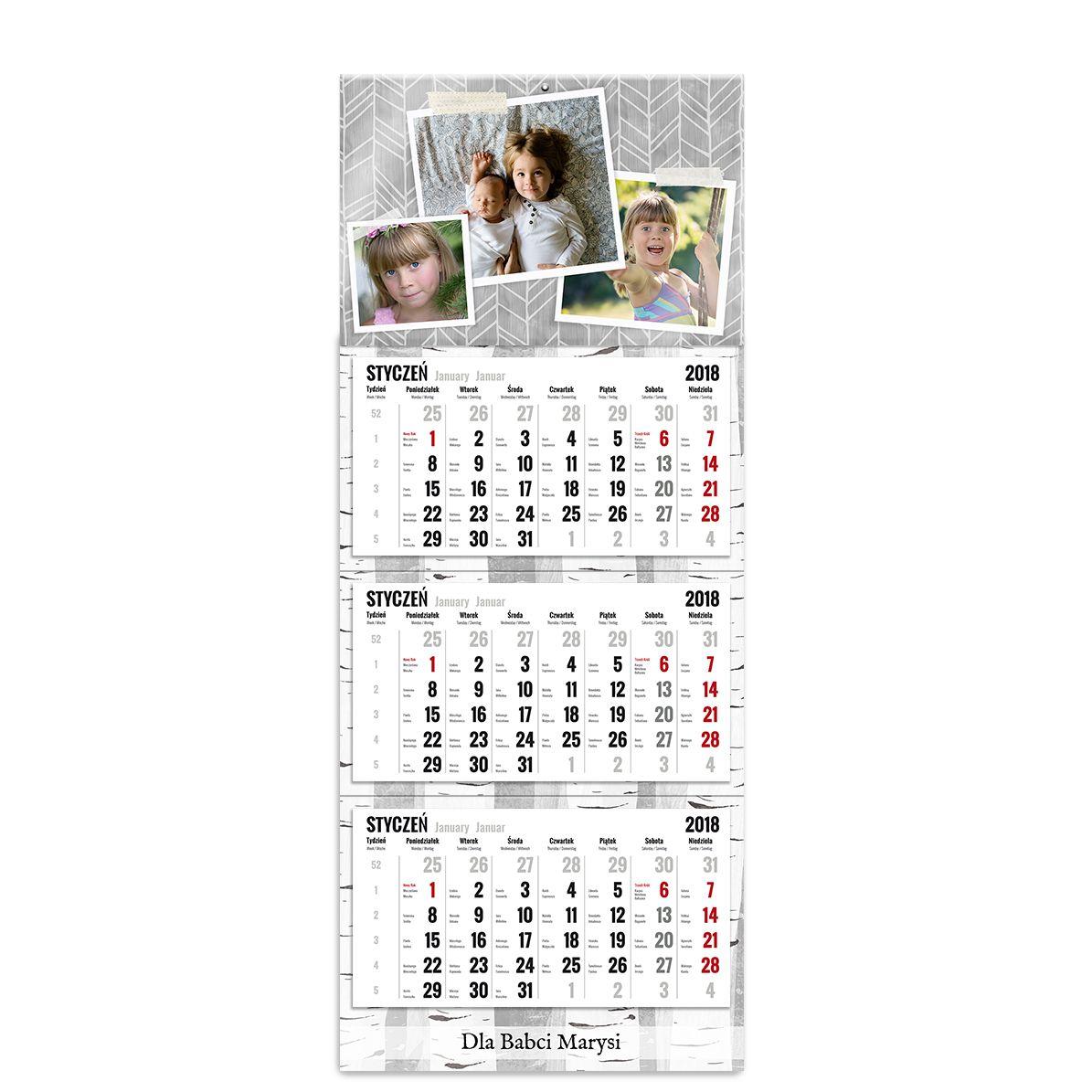 kalendarz trójdzielny z główką szablon nasze zdjęcia