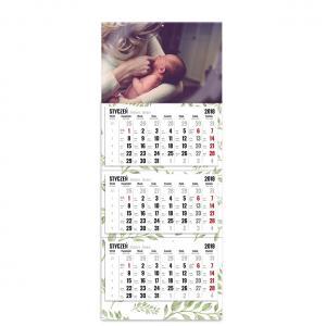 kalendarz trójdzielny z główką szablon zielono mi
