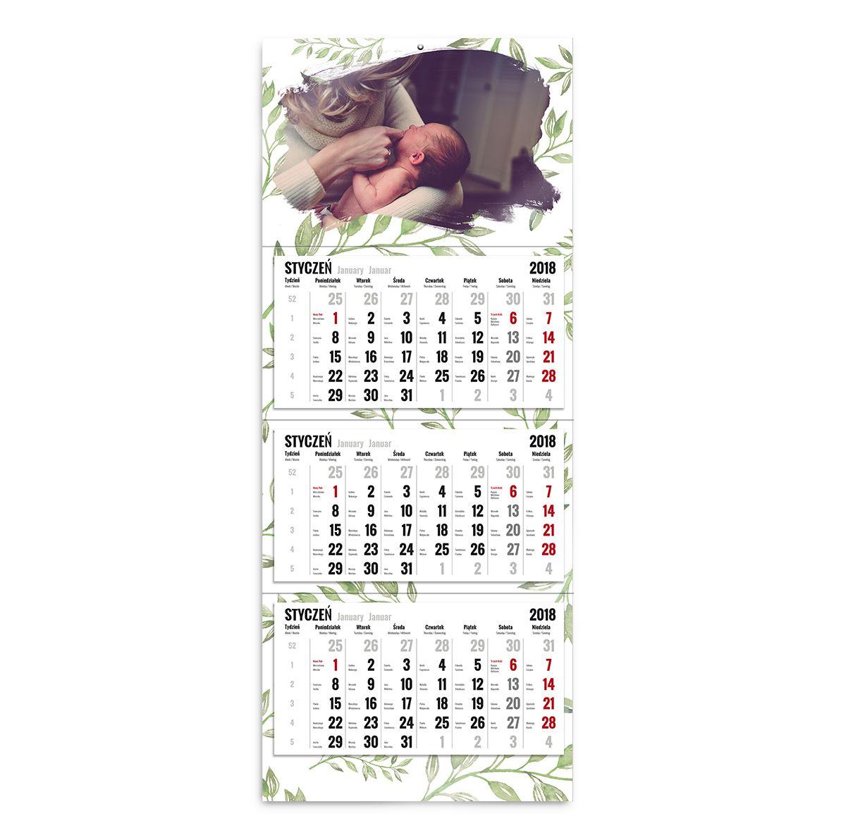 kalendarz trójdzielny szablon zielono mi