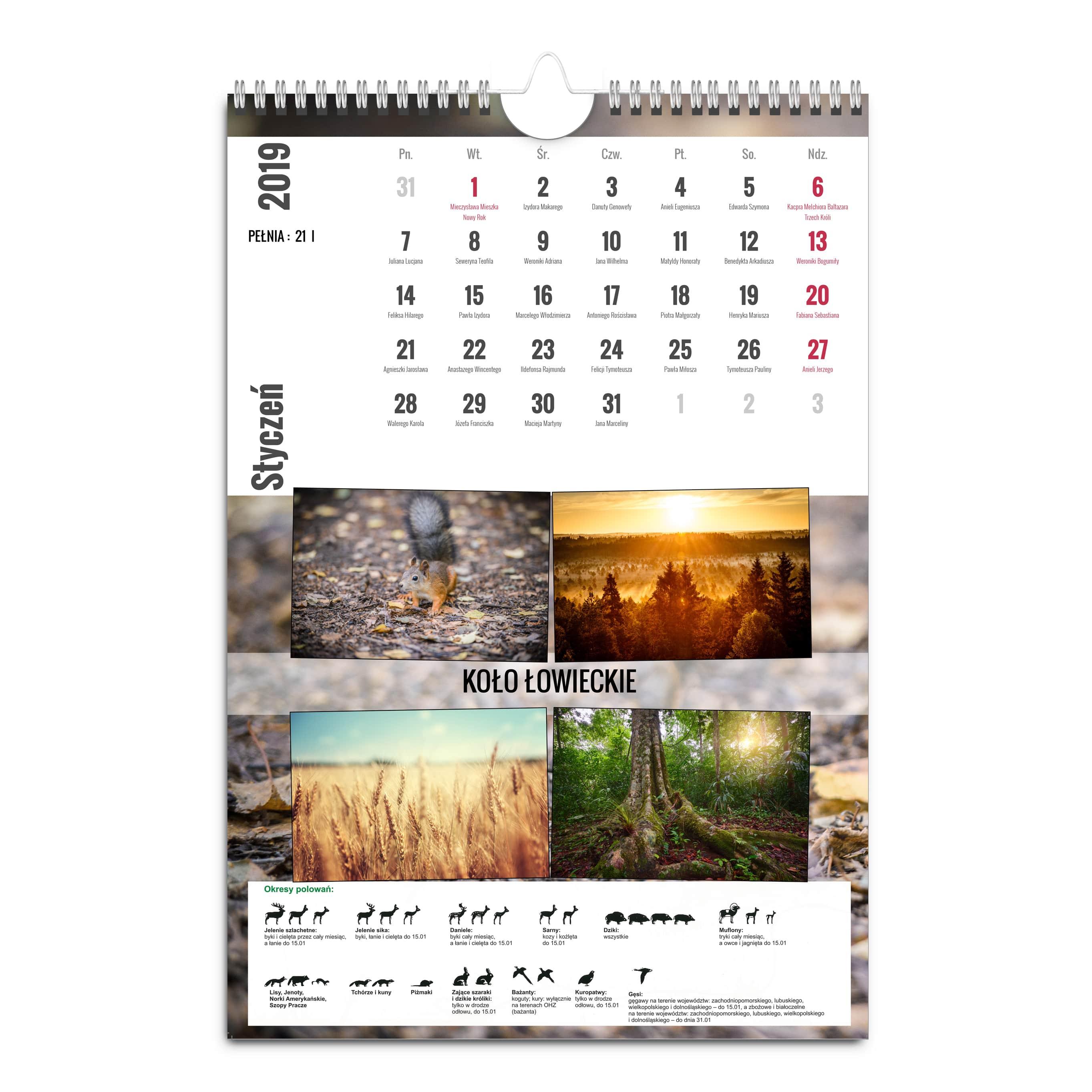 kalendarz basic A3 mysliwy 2-min